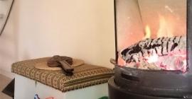 Ferienhaus Feuer im Kaminofen